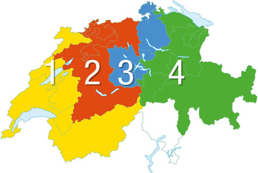 Vertriebsregionen Schweiz BIGLER AG Lacke und Leime